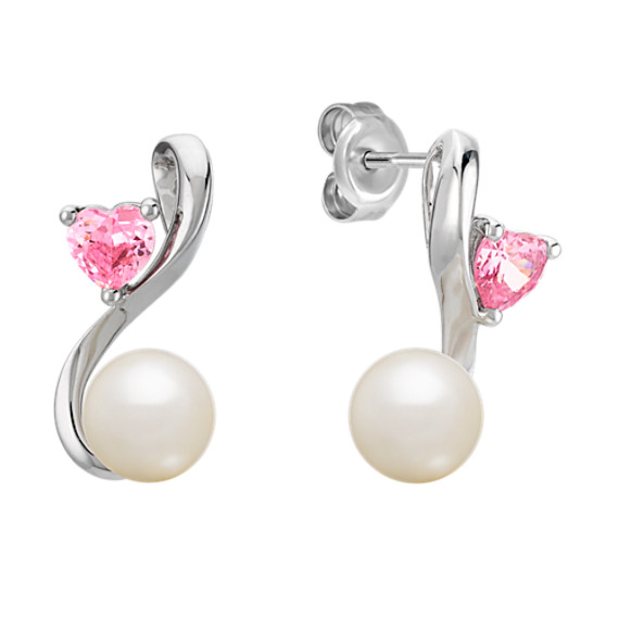 6.5mm Pearl and Heart-Shaped Pink Sapphire Earrings in Sterling Silver