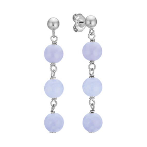 6mm Blue Lace Agate Bead Dangle Earrings