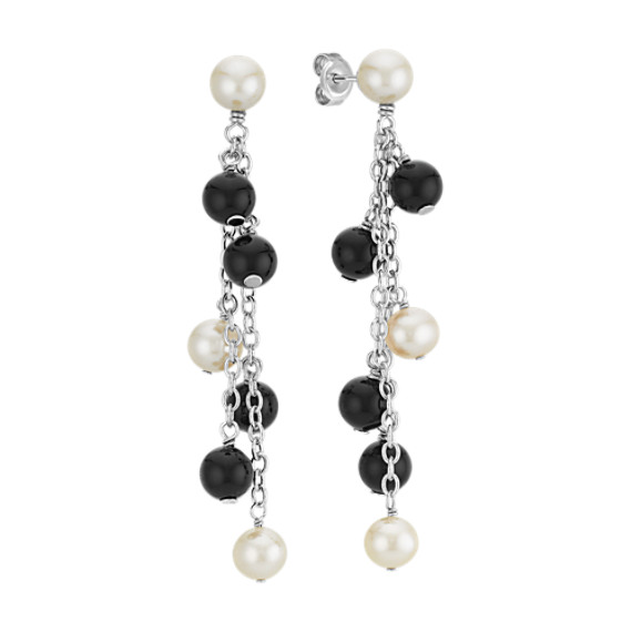 6mm Cultured Freshwater Pearl and Black Agate Dangle Earrings
