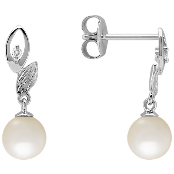 6mm Cultured Freshwater Pearl and Round Diamond Earrings