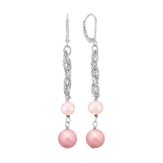 6mm Pink Cultured Freshwater Pearl, Rhodonite, and Sterling Silver Earrings