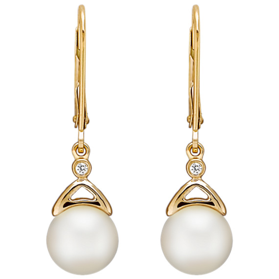 7.5mm Cultured Akoya Pearl and Diamond Earrings