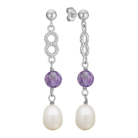 7mm Cultured Freshwater Pearl, Charoite, and Sterling Silver Earrings