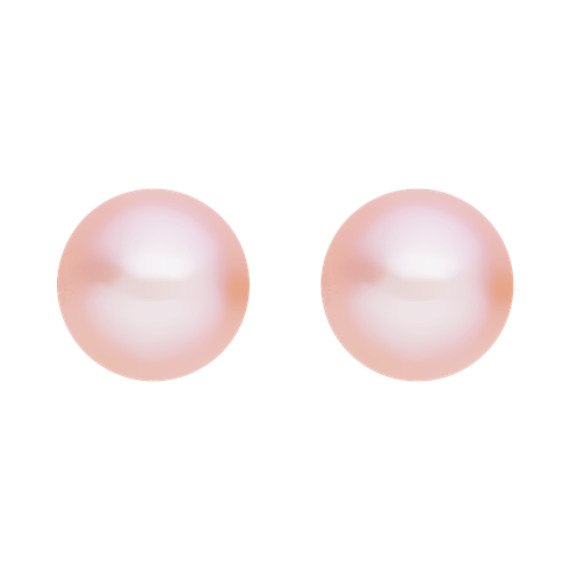7mm Pink Cultured Freshwater Pearl Solitaire Earrings