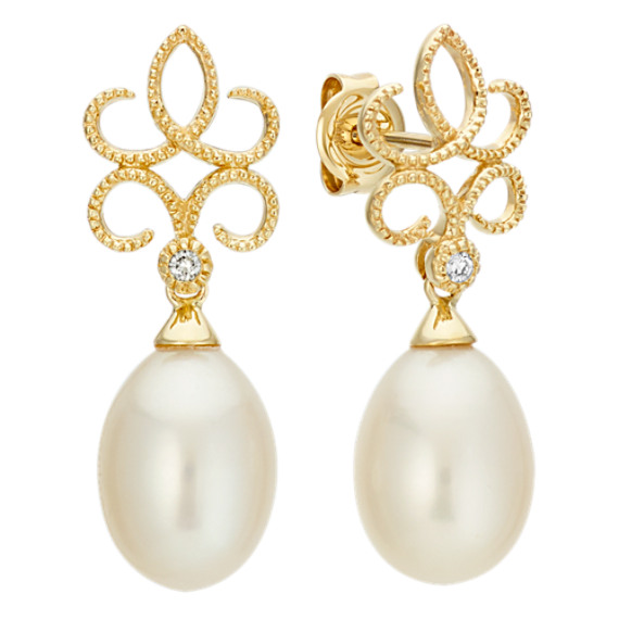 8.5mm Cultured Freshwater Pearl and Round Diamond Earrings