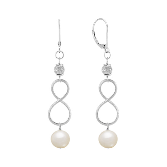 8.5mm Cultured Freshwater Pearl and Sterling Silver Infinity Earrings