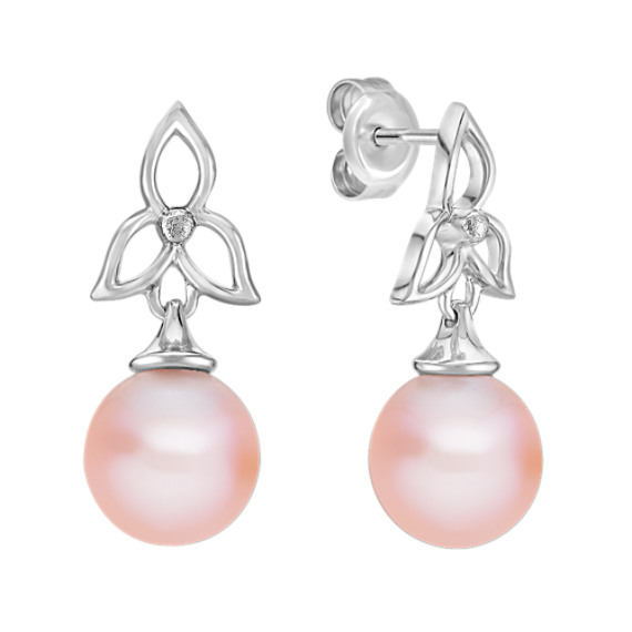 8.5mm Pink Cultured Freshwater Pearl and Sterling Silver Earrings