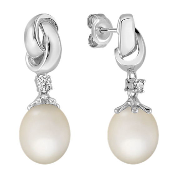 9mm Cultured Freshwater Pearl and Round Diamond Earrings in Sterling Silver