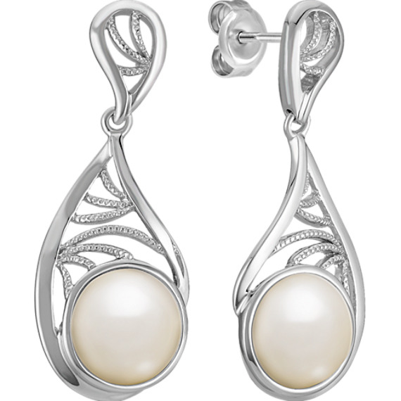 9mm Cultured Freshwater Pearl and Sterling Silver Earrings