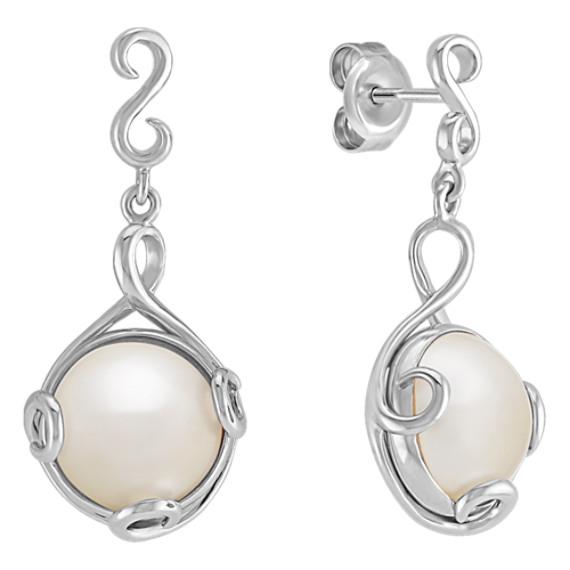 9mm Cultured Freshwater Pearl Earrings in Sterling Silver