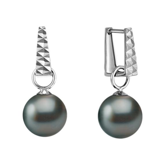 9mm Cultured Tahitian Pearl Hoop Earrings