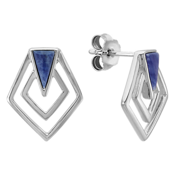 Asymmetrical Octagon Sodalite and Sterling Silver Earrings