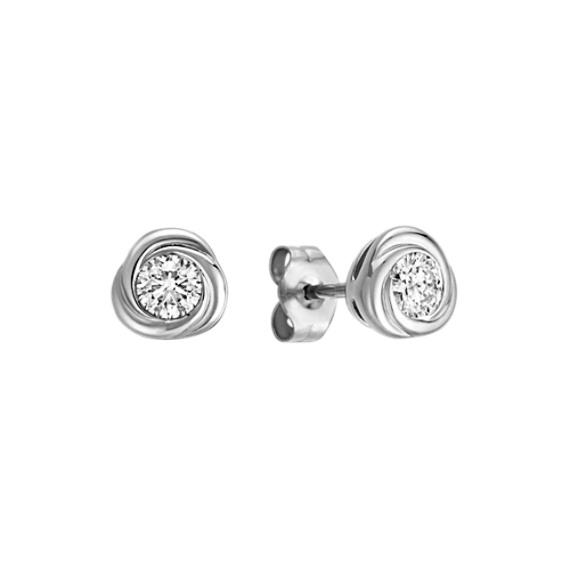 Bezel-Set Round Diamond Twirl Earrings in 14k White Gold