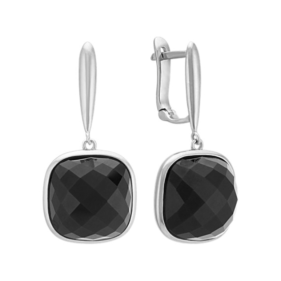 Black Agate and Sterling Silver Leverback Earring