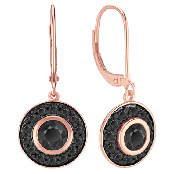 Black Sapphire Circle Earrings in 14k Rose Gold
