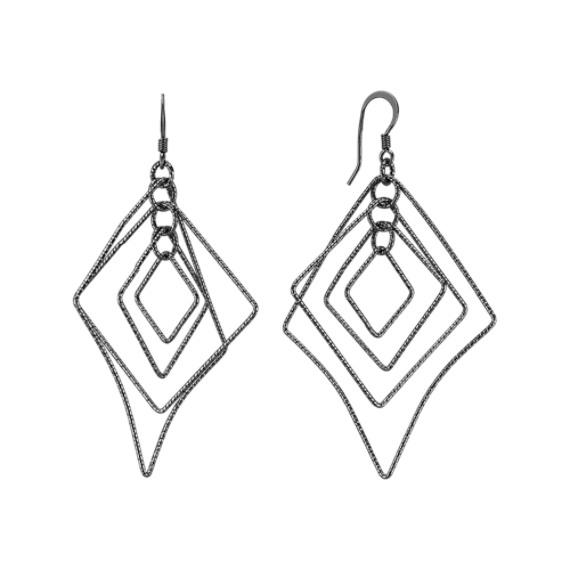 Black Sterling Silver Dangle Geometric Earrings
