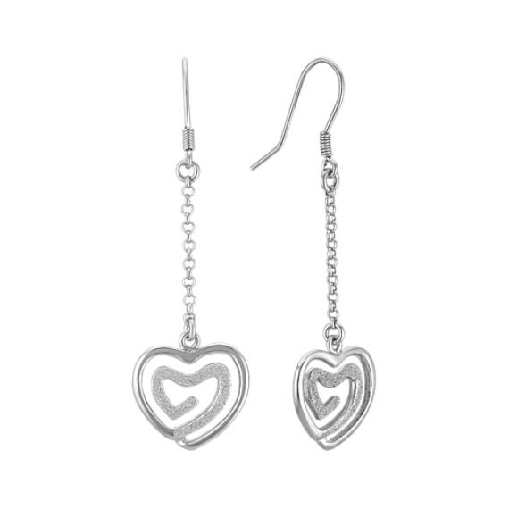 Chain Dangle Heart Earrings in Sterling Silver