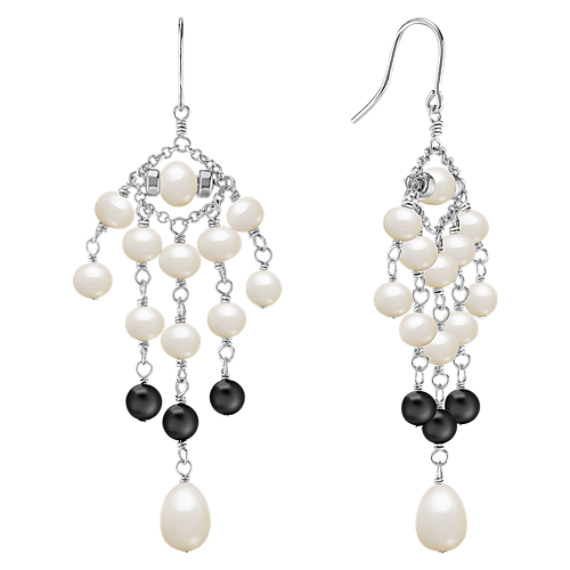 Chandelier Pearl and Black Agate Earrings
