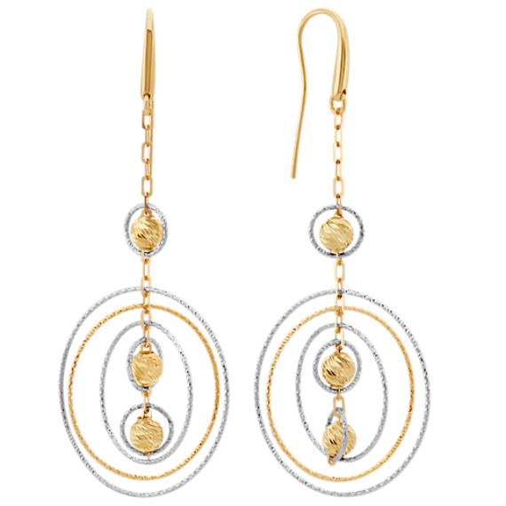 Circle and Bead Dangle Earrings in 14k Yellow and White Gold