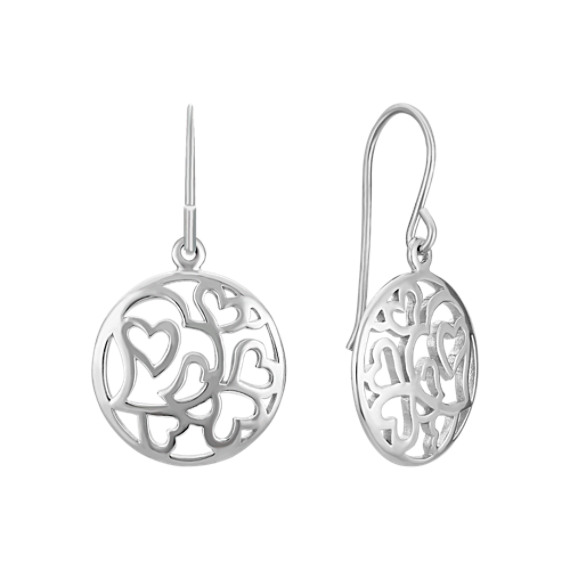 Circle of Hearts Earrings in Sterling Silver