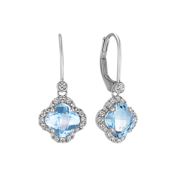 Clover-Shaped Aquamarine and Round Diamond Earrings