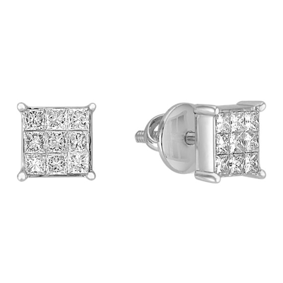 Cluster Princess Cut Diamond Earrings