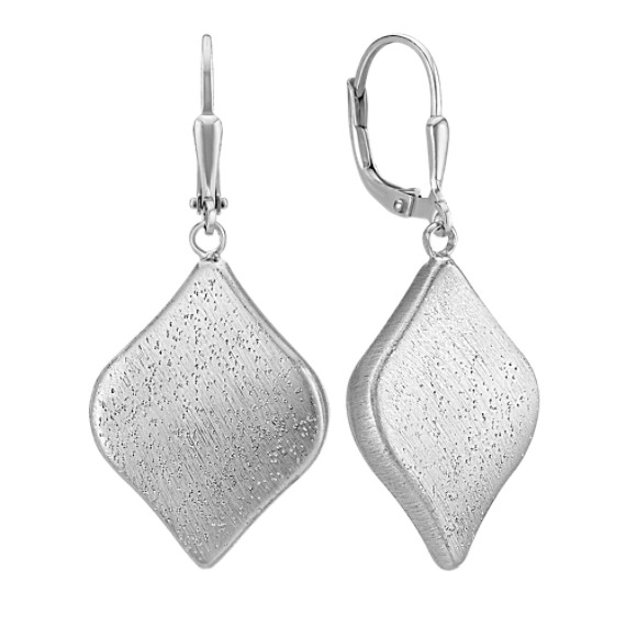 Contemporary Sterling Silver Dangle Leverback Earrings