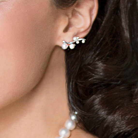 Cultured Freshwater Pearl and Sterling Silver Ear Climber Earrings