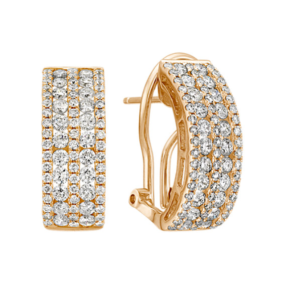Curved Fashion Earrings with Round Diamonds in 14k Yellow Gold