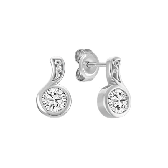 Diamond Bezel Set Earrings