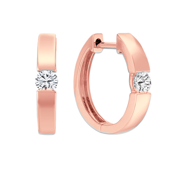 Diamond Channel-Set Hoop Earrings in 14k Rose Gold