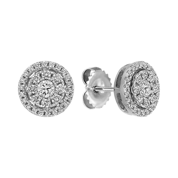 Diamond Cluster Circle Earrings