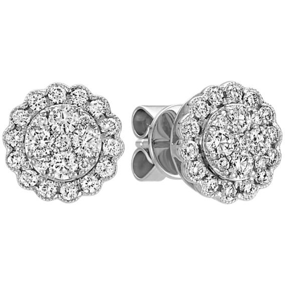 Diamond Cluster Earrings with Floral Outline