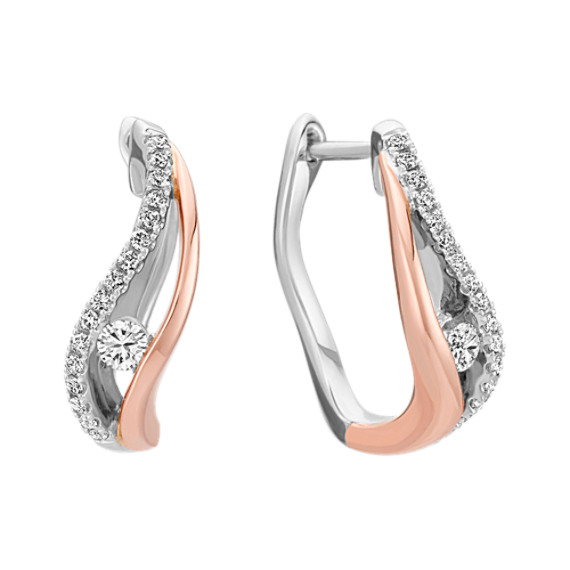 Diamond Earrings in 14k Rose and White Gold