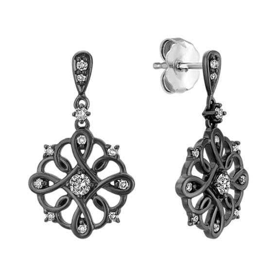 Diamond Earrings with Black Ruthenium