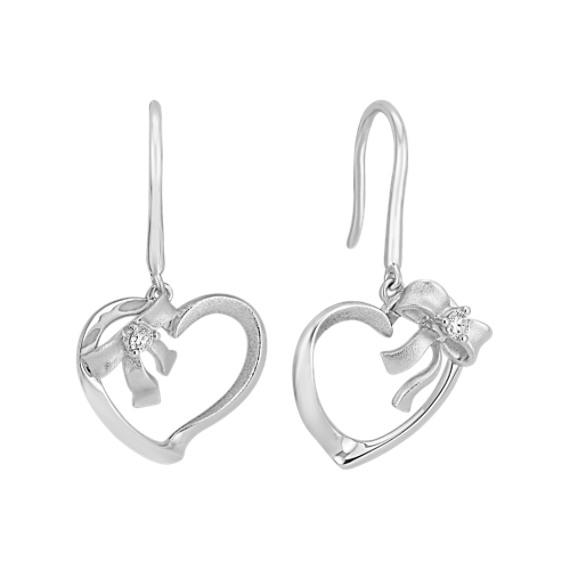 Diamond Heart Earrings in Sterling Silver