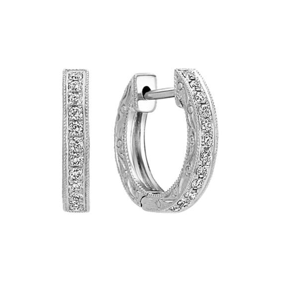 Diamond Hoop Earrings with Filigree Engraved Sides