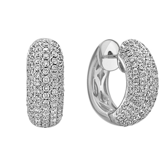 Diamond Hoop Earrings with Pavé Setting