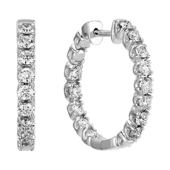 Double Diamond Hoop Earrings
