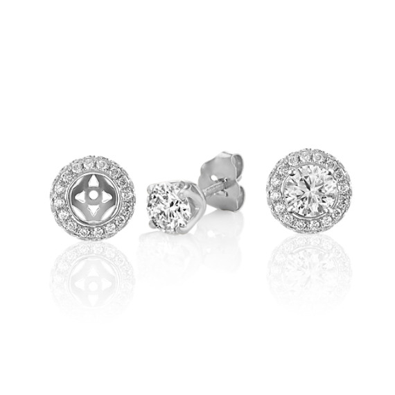 Double Sided Round Diamond Earring Jackets in 14k White Gold