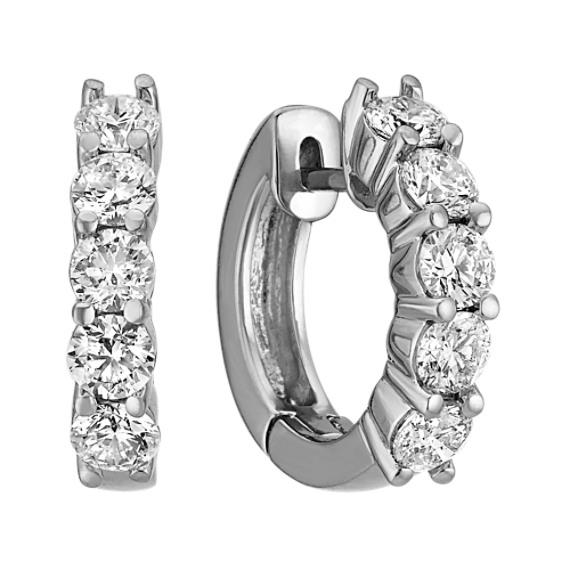 Five-Stone Round Diamond Hoop Earrings