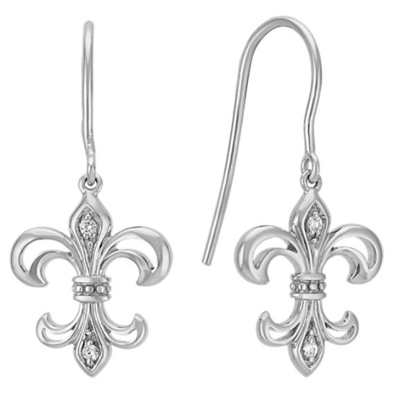 Fleur De Lis Dangle Earrings with Round Diamond Accent
