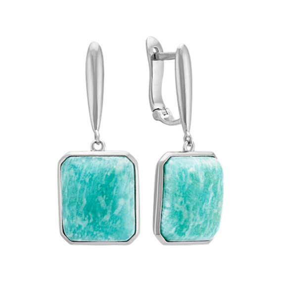 Green Amazonite and Sterling Silver Leverback Earrings