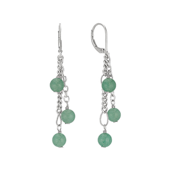 Green Aventurine and Sterling Silver Earrings