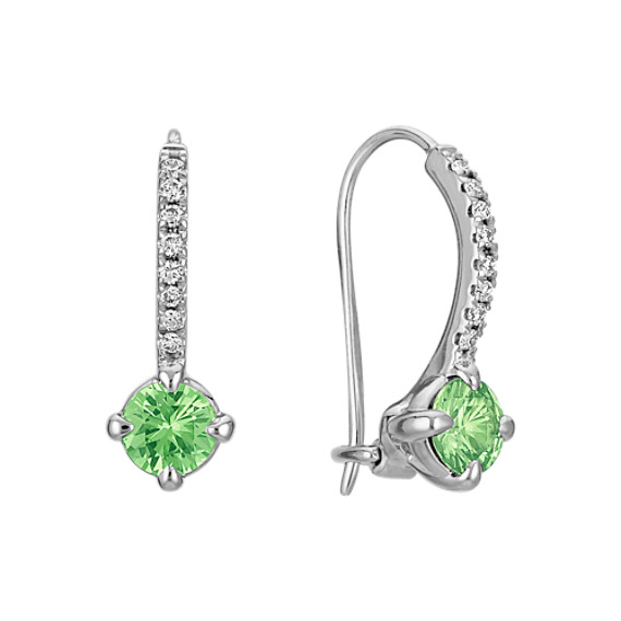 Green Sapphire and Diamond Lever Back Earrings