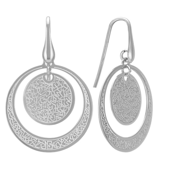 Grooved Cut-Out Circle Earrings in Sterling Silver