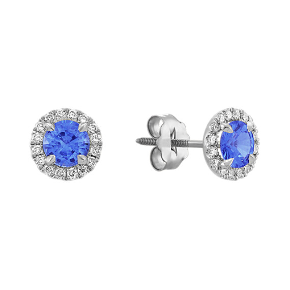 Halo Kentucky Blue Sapphire and Diamond Earrings