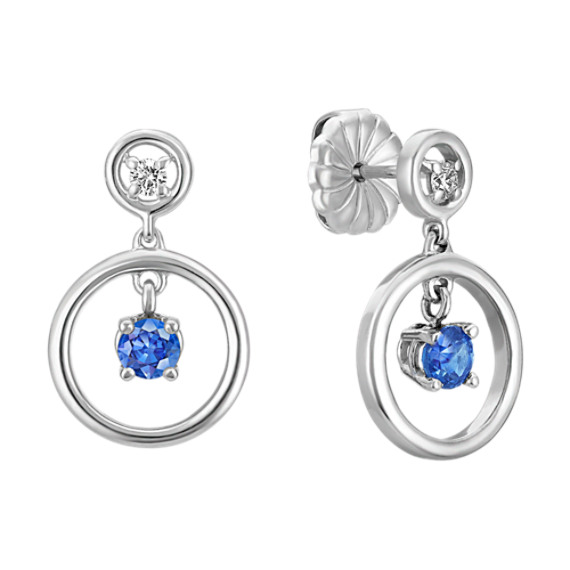 Kentucky Blue Sapphire and Diamond Circle Earrings in Sterling Silver