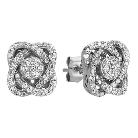 Knot Diamond Cluster Earrings