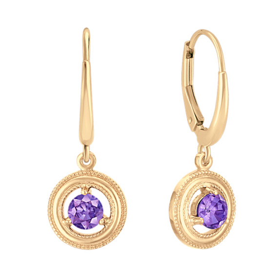 Lavender Sapphire Circle Lever Back Earrings